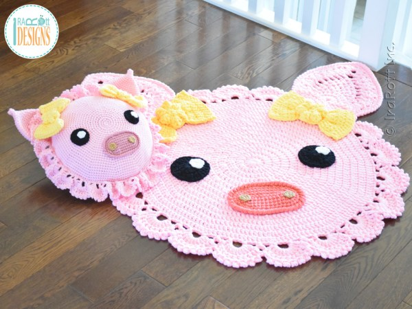 Pinky Piggy Crochet Pillow and Rug Patterns By IraRott
