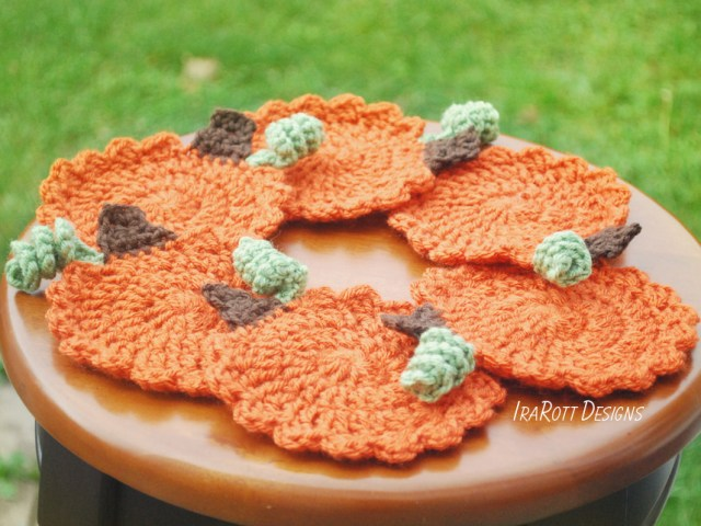 Crochet Pumpkin Coasters Free PDF Pattern by IraRott