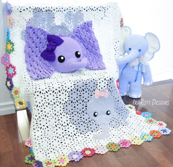 Crochet Elephant Pillow Blanket and Big Amigurumi Patterns By IraRott