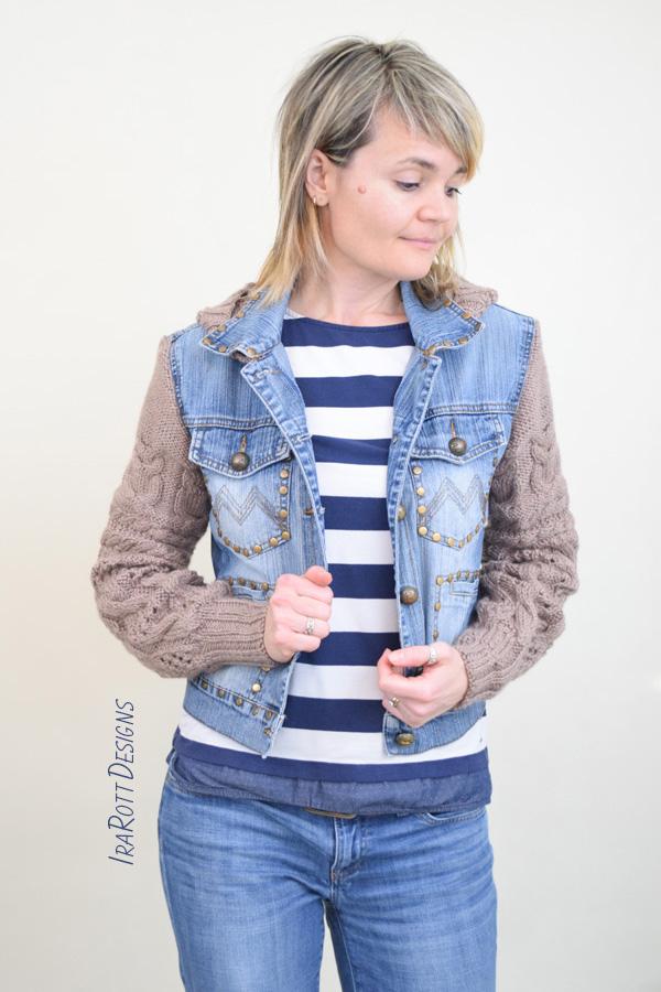 Upcycled Denim Jacket and Knit UFO