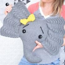 Knit Elephant Pillow Pattern by IraRott - German Short Rows Tutorial
