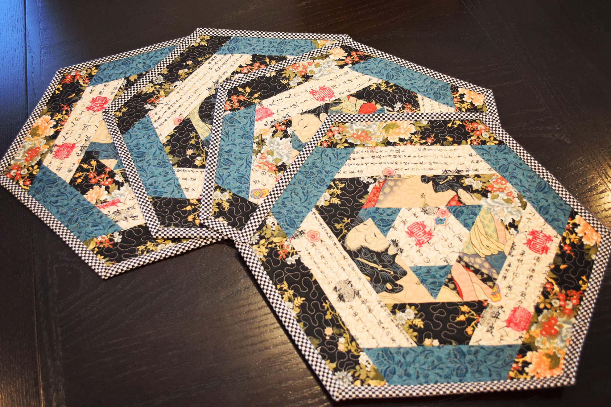Hexagon Log Cabin Placemats