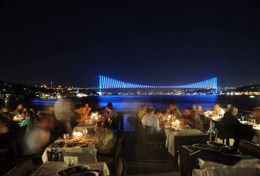 A fish restaurant on the shore of the Bosphorus