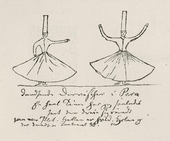 H. C. Andersen's drawing of whirling dervishes that he watched in Istanbul. - 30 April 1841.