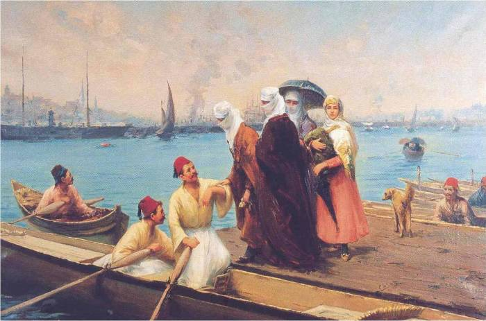 Women and Caique, Fausta Zonaro painting