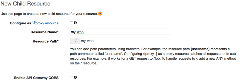 Child resources in API Gateway let you create hierarchical structure for your methods