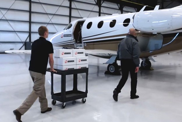 Shipping compponents by private jet