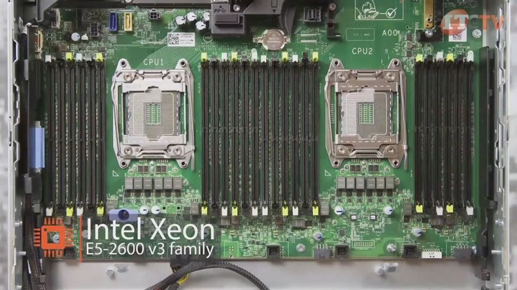 deail of Dell r730xd MoBo with CPU sockets and DIMM slots