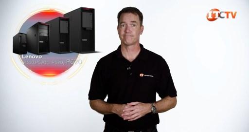 Lenovo's ThinkStation lineup next to Doug Stuman