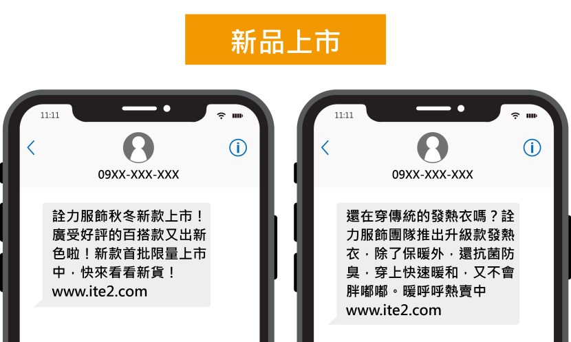 新品上市的簡訊範例
