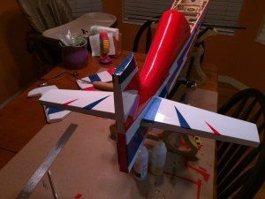 Horizontal stabilizer fitted and epoxied in place.