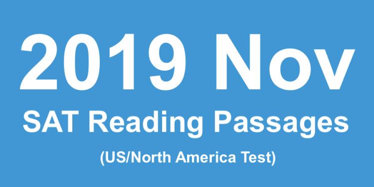2019 11月北美SAT考題閱讀文章