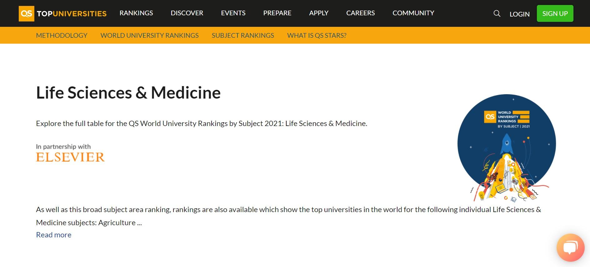 QS 2021 世界大學科系排行:生物科學及醫藥(Life Sciences & Medicine)