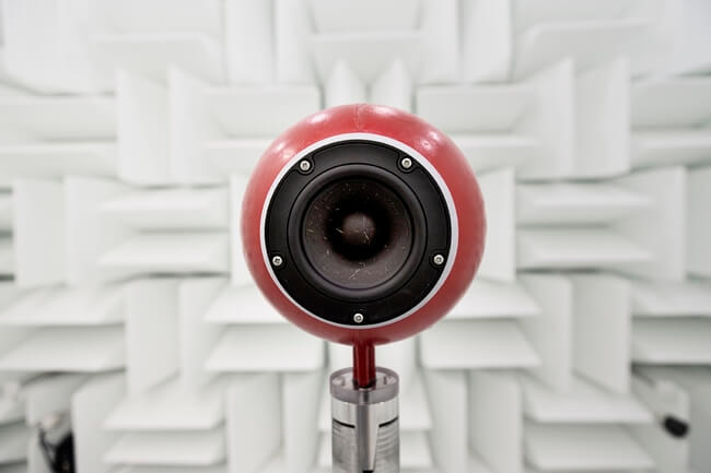 Sound lab - speaker in anechoic chamber