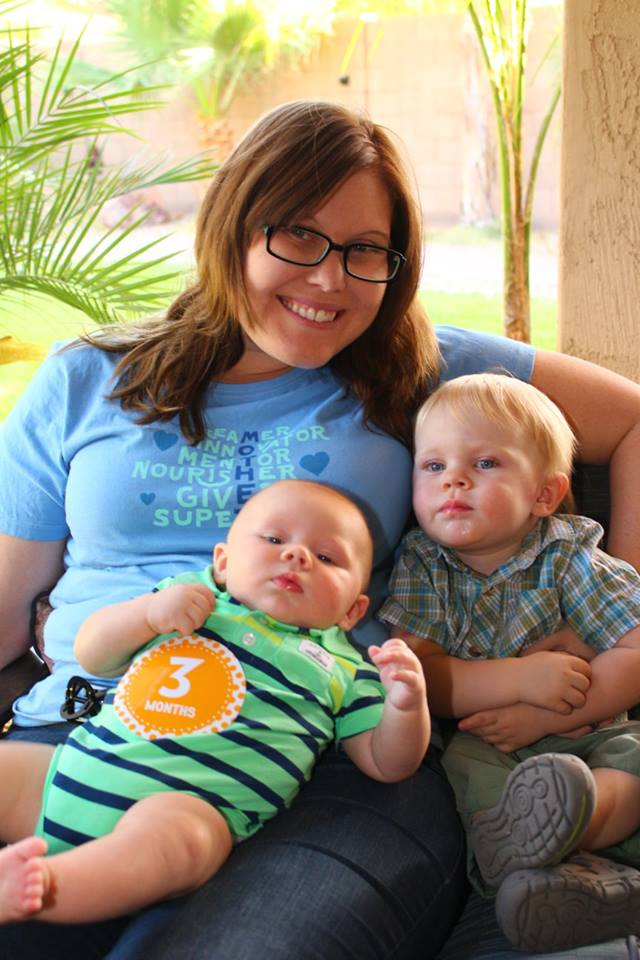 Mothers Day photo of Jacquelyn Van Sant and her two sons: Peanut and Pickle.
