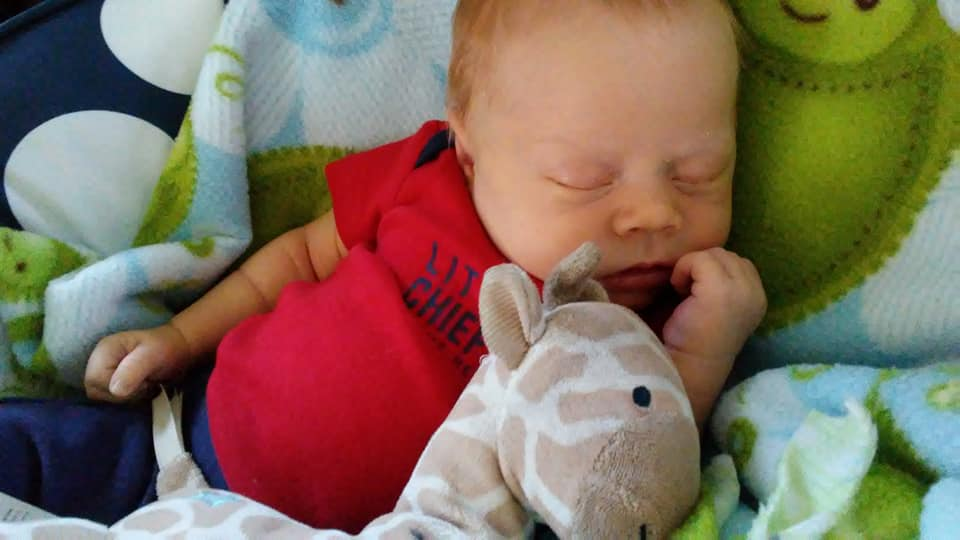 A close up on our third son, a redhead, sleeping soundly with a toy giraffe.