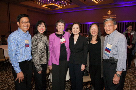 Tom Ikeda, Karen Korematsu, Judge Mary Schroeder, Kathryn Bannai, Lori Bannai, and Secretary Norm Mineta.