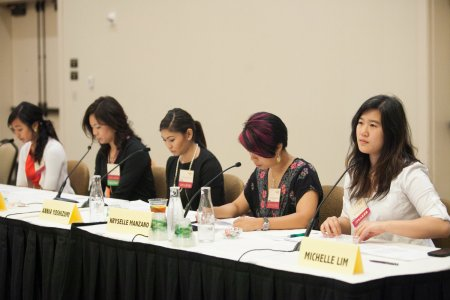 "Students from University of Washington participate in a bilingual panel entitled, ""We Didn't Marry the War."""