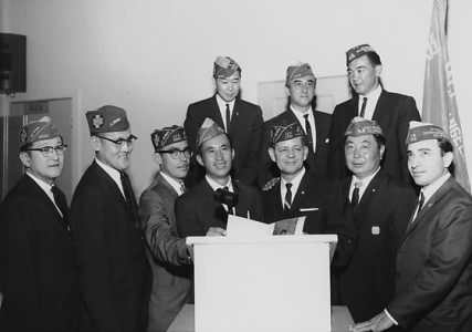 Installation of 1963-64 new officers of Nisei Memorial Post 9938, Veterans of Foreign Wars at Larchmont Hall, California, April 27, 1963. Photograph by Toyo Miyatake Studio, Gift of the Alan Miyatake Family. (96.267.786)