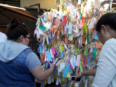 The unofficial Tanabata tree in the Japanese Village Plaza, Little Tokyo. Photo: Carol Cheh.