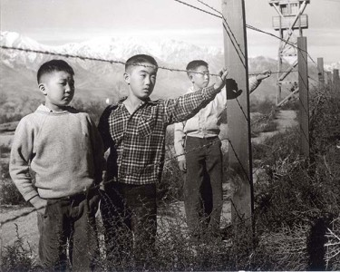 A well-known photograph taken by Toyo Miyatake at Manzanar concentration camp. Courtesy of Alan Miyatake, Toyo Miyatake Studio.
