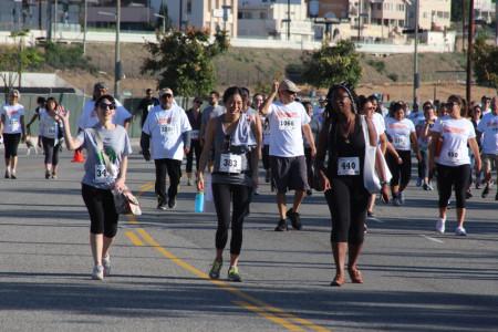 JANM staffers Sylvia Lopez, Kelly Kawata, and Vedette Philip participate in the 5K run. Photo by Richard Murakami.
