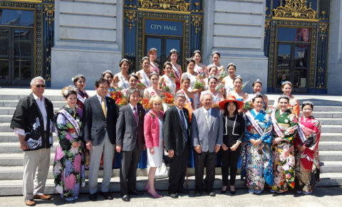 Members of all three courts pose with the Mayor of San Francisco, other city officials, JANM Board of Trustees Chair Norman Y. Mineta, and others on the steps of San Francisco City Hall.