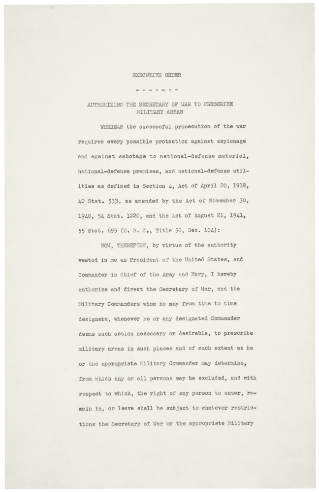 Page one of Executive Order 9066. National Archives, Washington, DC.