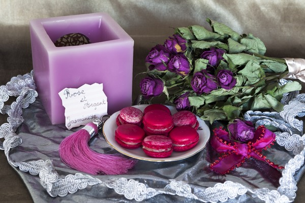 macaron rose argent