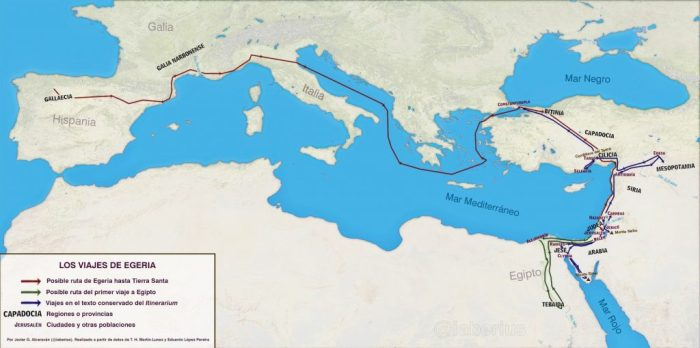 Mapa del itinerario de Egeria