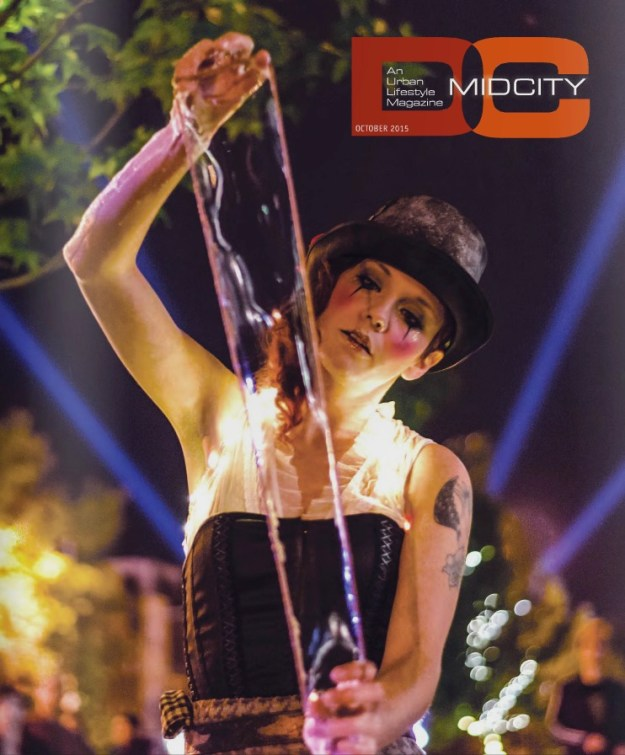 pulling air on the cover of MidCity DC Magazine