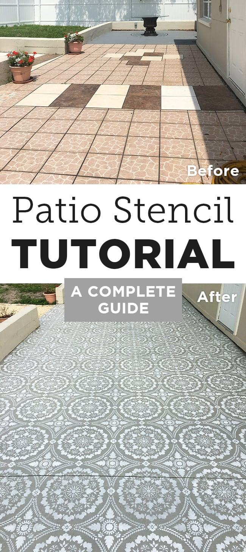 stenciled patio makeover tutorial