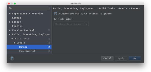 Delegate IDE build/run to Gradle