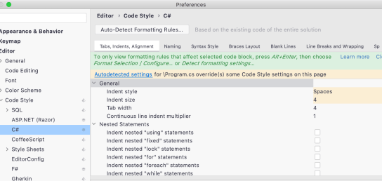 code style auto-detect dialog window in Rider