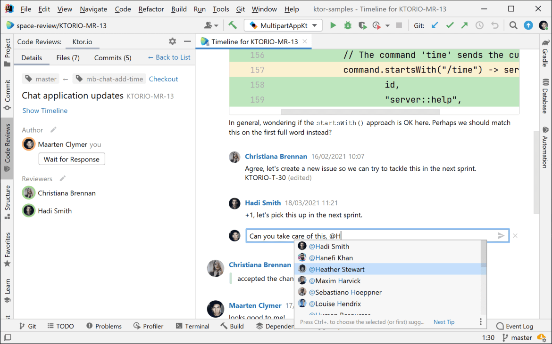 Mention team members in code reviews