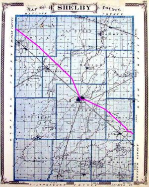 1876 map, Michigan Road highlighted in magenta