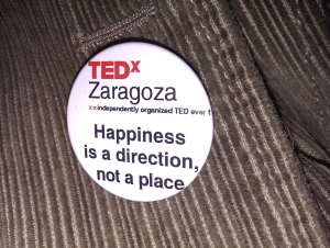 The badge I got at the end of TEDx Zaragoza 2011: The future of happiness