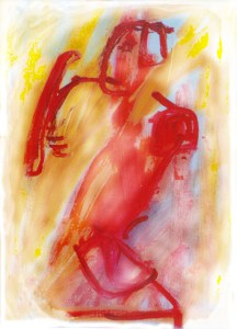 In deze schildering n.a.v Henri Moore's warrior, zie je ondanks alles nog een schild.