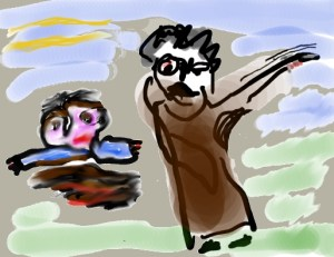 abraham en isaac; his fathers hand was trembling