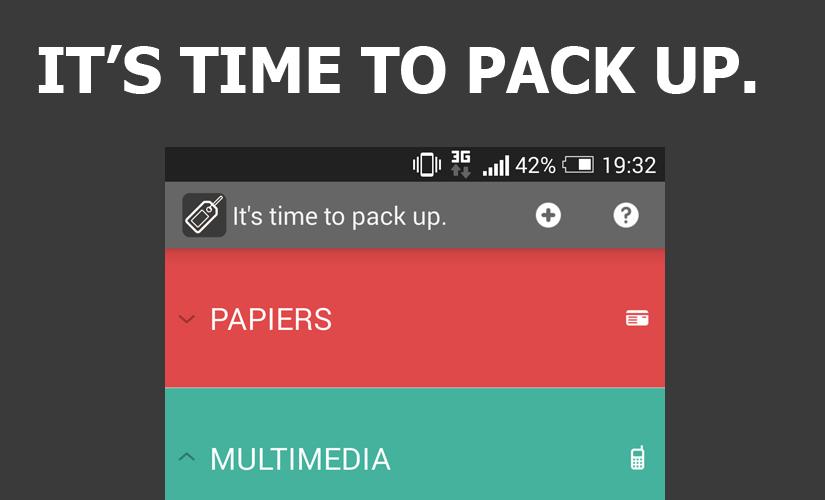 Time to pack up : Application Android pour gérer le contenu de sa valise et préparer son voyage.