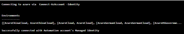 Azure Automation Account successful connectivity to Azure running as an MSI