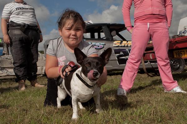 banger racing kids with dog by john hicks