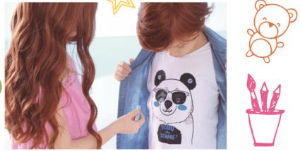 Camiseta infantil panda menino