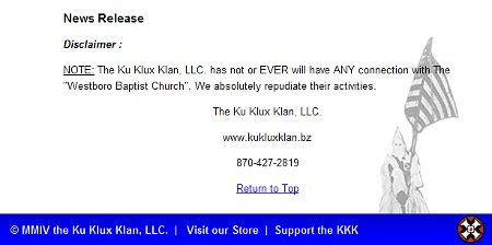KKK Repudiates Westboro Baptist Church