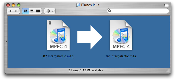 Finder window showing original iTunes file and new iTunes Plus file