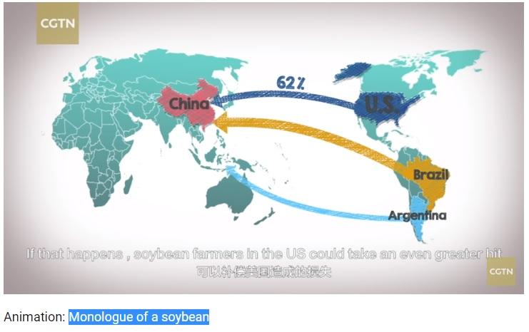 China faz desenho animado com grão de soja e ataca Trump