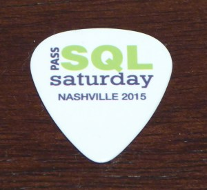 Guitar Pick - fitting swag for SQL Saturday Nashville