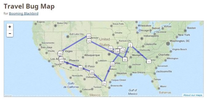 Map of Stops for a Geocaching Travel Bug
