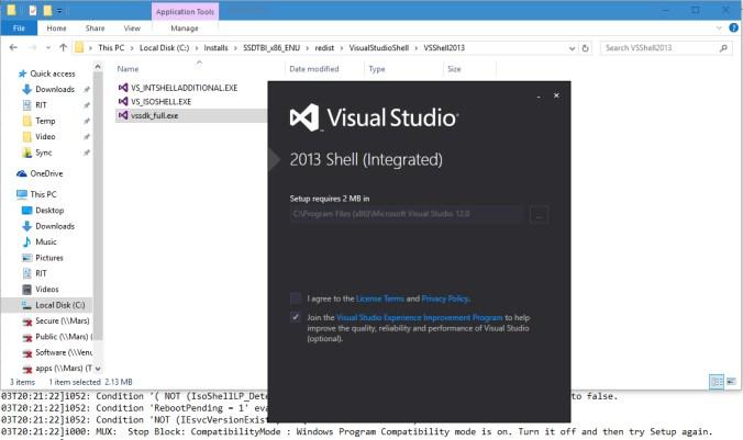 SSDT-BI VS 2013 Integrated Shell Installer renamed to vssdk_full.exe