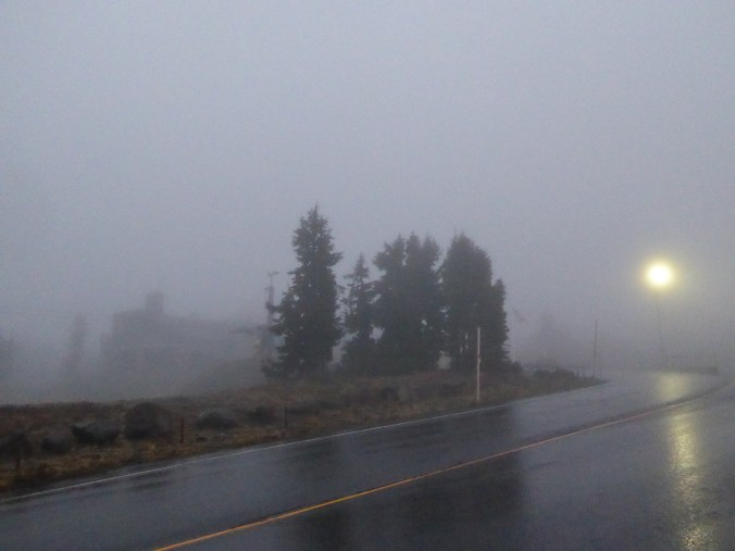 The Timberline Lodge at Mt. Hood. Light rain and heavy fog made for zero view.